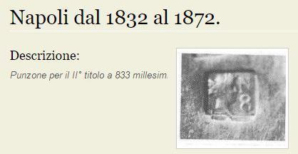 Foto del punzone Napoli secondo titolo 1832-72